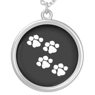 Paw Prints Silver Plated Necklace