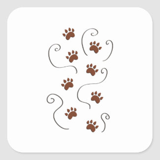 Paw Prints Square Stickers