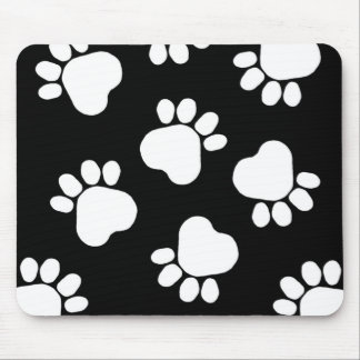 Paw Prints - Talk to the Paw! Black and White Mouse Pad