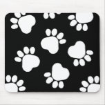 Paw Prints - Talk to the Paw! Black and White Mouse Pads