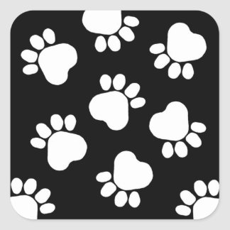 Paw Prints - Talk to the Paw! Black and White Square Sticker