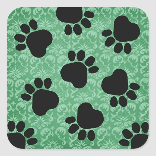Paw Prints - Talk to the Paw! Green Square Sticker