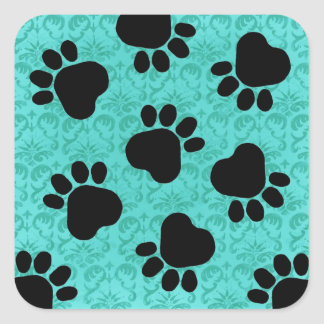 Paw Prints - Talk to the Paw! Paws & Green Damask Square Sticker