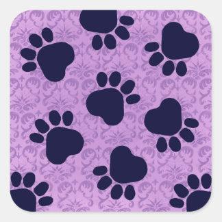 Paw Prints - Talk to the Paw! Purple Square Sticker
