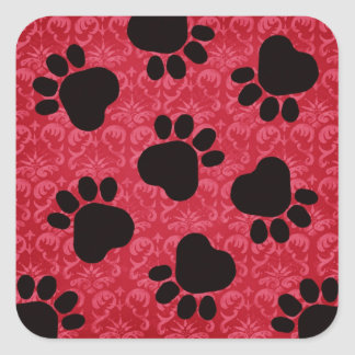 Paw Prints - Talk to the Paw! Red and Black Square Sticker