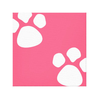 Paw Prints Wall Canvas - Pink Dog Puppy Paw Print
