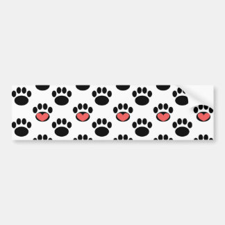 Paw Prints with Hearts Car Bumper Sticker