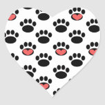 Paw Prints with Hearts Heart Sticker