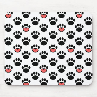 Paw Prints with Hearts Mouse Pad
