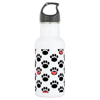Paw Prints with Hearts 18oz Water Bottle