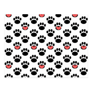 Paw Prints with Hearts Postcard