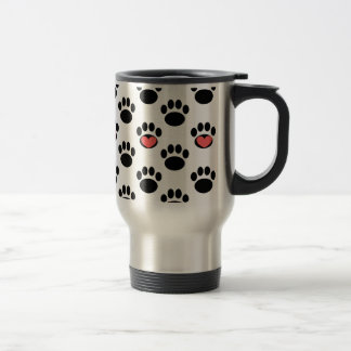 Paw Prints with Hearts Travel Mug