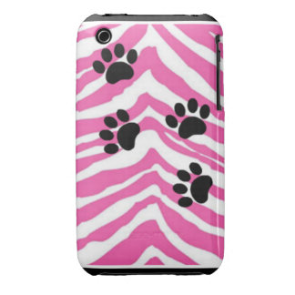 PAW PRINTS WITH PINK ZEBRA iPhone 3 CASES