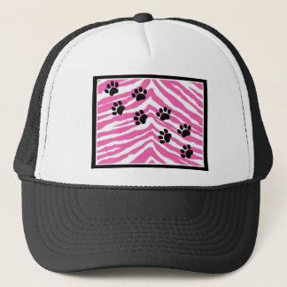 PAW PRINTS WITH PINK ZEBRA TRUCKER HAT