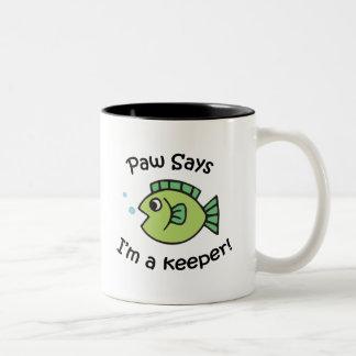 Paw Says I'm a Keeper Two-Tone Coffee Mug