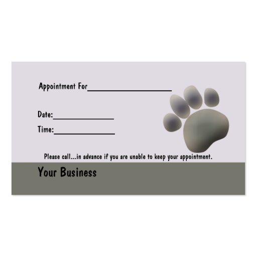 Paw Tracks Veterinarian Business Apointment Card Business Card