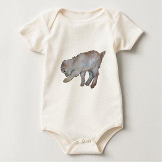 Pawing Tan Baby Goat Baby Bodysuit