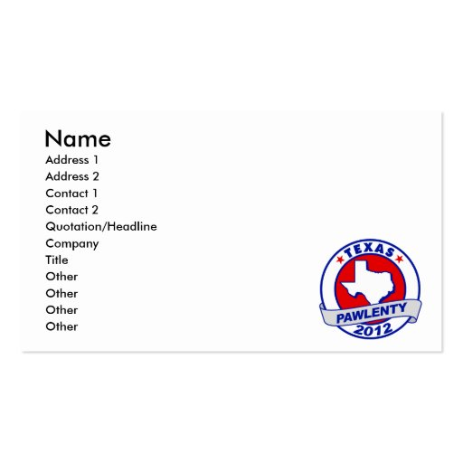 Pawlenty - texas Double-Sided standard business cards (Pack of 100)