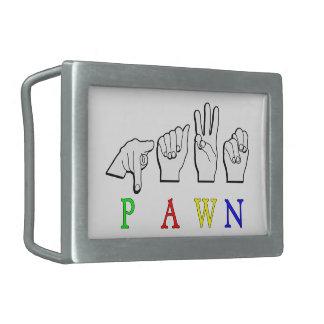 PAWN  FINGERSPELLED ASL NAME BELT BUCKLE