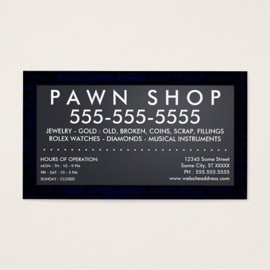 pawn shop : electric sign business card