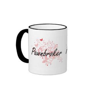Pawnbroker Artistic Job Design with Butterflies Ringer Mug