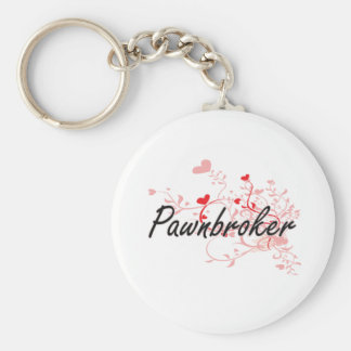 Pawnbroker Artistic Job Design with Hearts Basic Round Button Keychain
