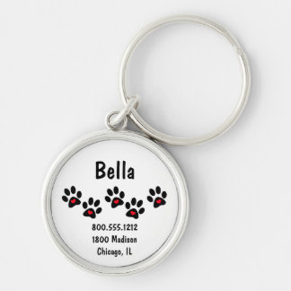 Pawprint And Hearts Pet Identification Tag Silver-Colored Round Keychain
