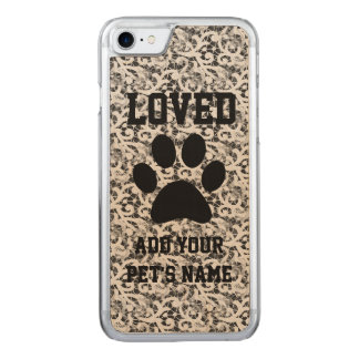Pawprint and Lace Pet Carved iPhone 7 Case
