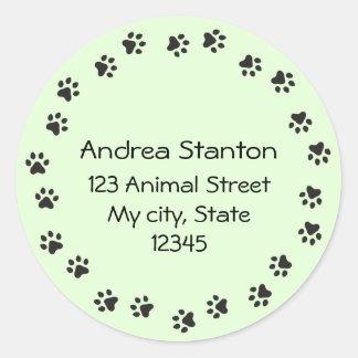 Pawprint border address label - green classic round sticker