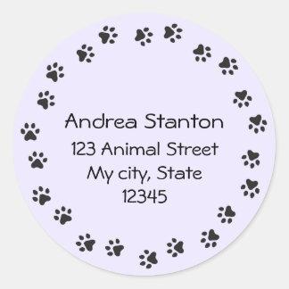 Pawprint border address label - purple classic round sticker
