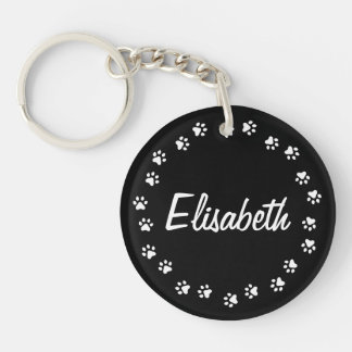 Pawprint border personalized name black and white keychain