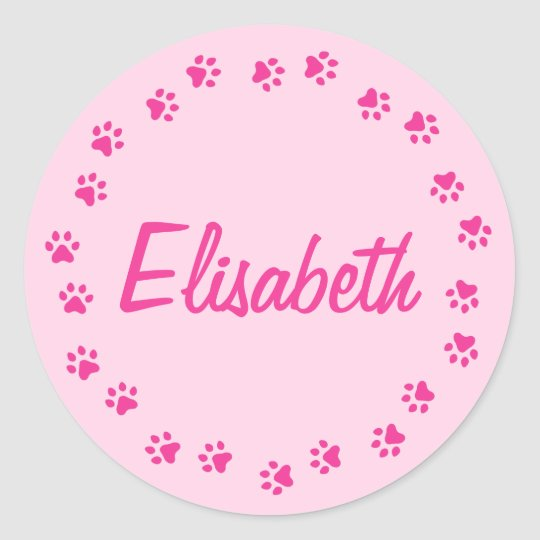 Pawprint border personalized name girly pink classic round sticker