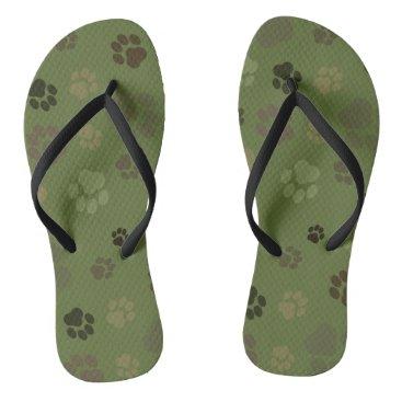 Beach Themed Pawprint Camouflage Unisex Flip-Flops Flip Flops