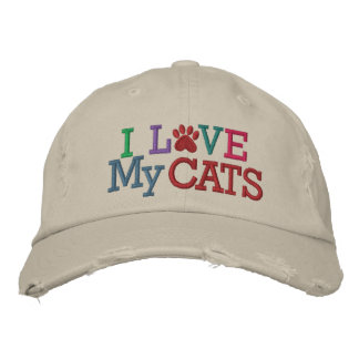 Pawprint Cap - Love My CATS! by SRF Embroidered Baseball Caps