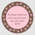 Pawprint circle address label - pink and brown round sticker