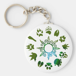 pawprint circle darkgreen keychain
