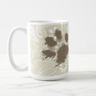 Pawprint divertido en Ecru Paisley Taza De Café
