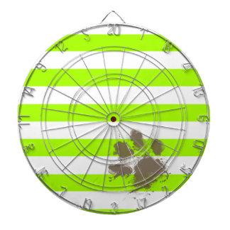 Pawprint divertido en rayas eléctricas de la verde