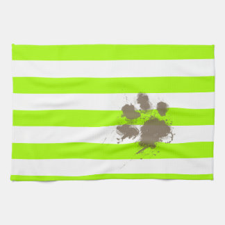 Pawprint divertido en rayas eléctricas de la verde toalla de cocina