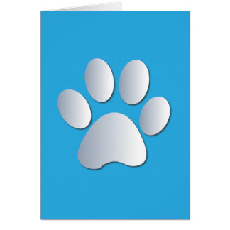 Pawprint dog cat pets silver & blue greeting card