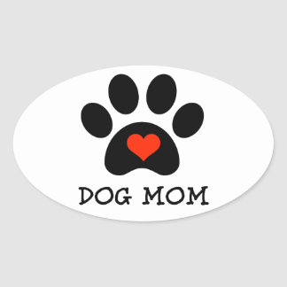 Pawprint Dog Mom Oval Sticker