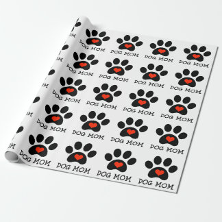 Pawprint Dog Mom Wrapping Paper