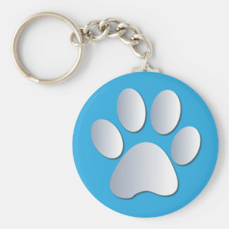 Pawprint dog or cat pets siliver and blue keychain