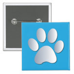 Pawprint dog or cat pets silver and blue button,
