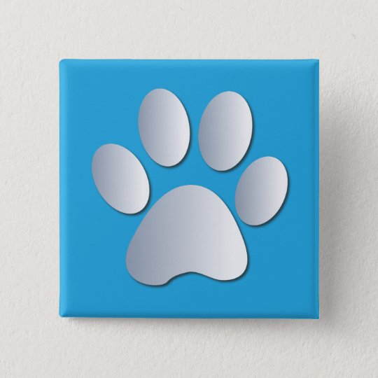 Pawprint dog or cat pets silver and blue button, button