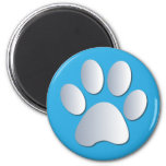 Pawprint dog or cat pets silver and blue magnet, 2 inch round magnet