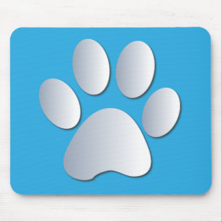 Pawprint dog or cat pets silver and blue mousepad
