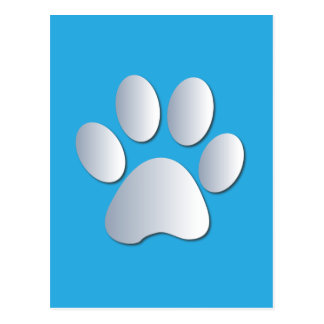 Pawprint dog or cat pets silver and blue postcard
