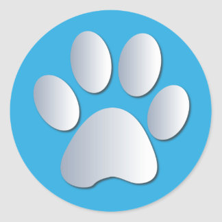 Pawprint dog or cat pets silver and blue stickers
