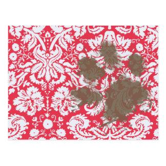 Pawprint fangoso divertido en modelo rojo del dama tarjetas postales